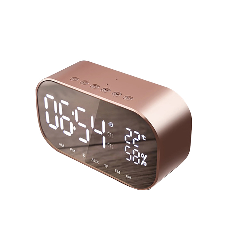Mirror LED Display Double Alarm Clock with Wireless Bluetooth Speaker Support Aux TF USB Music Player