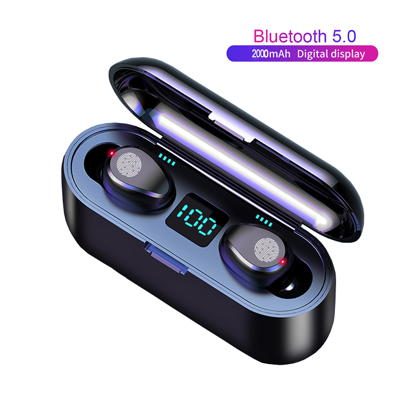 Best Selling 2019 F9 Bluetooth 5.0 Wireless Earbuds IPX7 Waterproof TWS Stereo Headphones Touch Control Headset