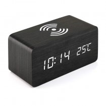 wooden wireless charger with LED digital alarm clock thermometer voice control