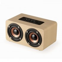 10W Dual Loudspeakers Wooden Wireless Speaker for Home Travel Outdoors