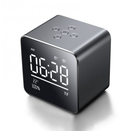 Square Bluetooth Speaker Wireless with LED Alarm Clock Thermometer