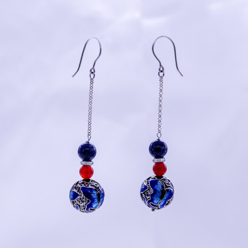Burning Blue Cloisonné Earring - Butterfly