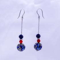 Burning Blue Cloisonné Earring - Butterfly