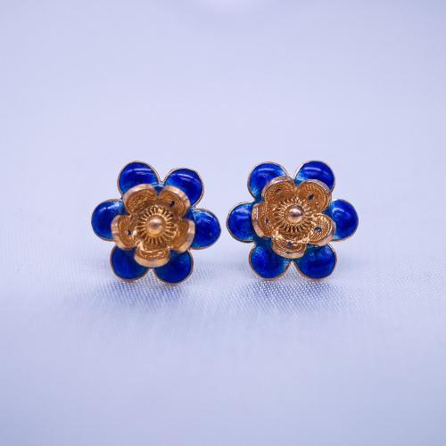 Burning Blue Cloisonné Ear Stud - Gilt Plum Flower