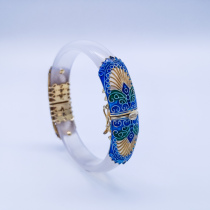 Burning Blue Cloisonné Bracelet - White Forbidden City