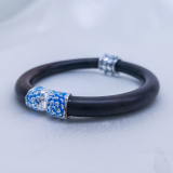 Burning Blue Cloisonné Bracelet - Peony Flower
