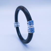 Burning Blue Cloisonné Bracelet - Peony Flower
