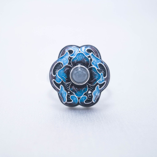 Burning Blue Cloisonné Ring - Blossoming- White Jade