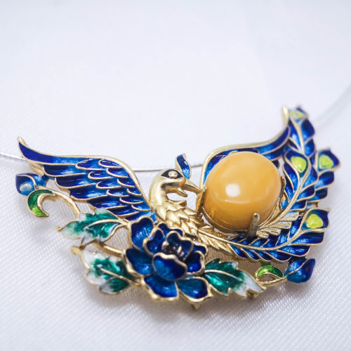 Burning Blue Cloisonné Necklace - Phoenix