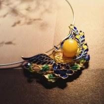 Burning Blue Cloisonné Necklace - Phoenix