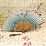 Lady's Smile - Chinese Traditional Art Bamboo Silk Fan