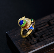 Burning Blue Parrot Ring