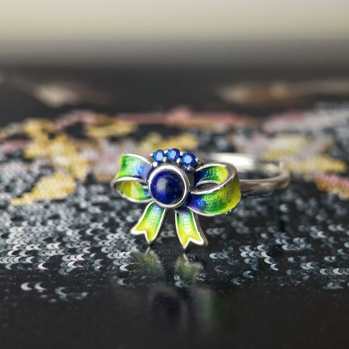 Burning Blue - Cloisonné Butterfly Ring