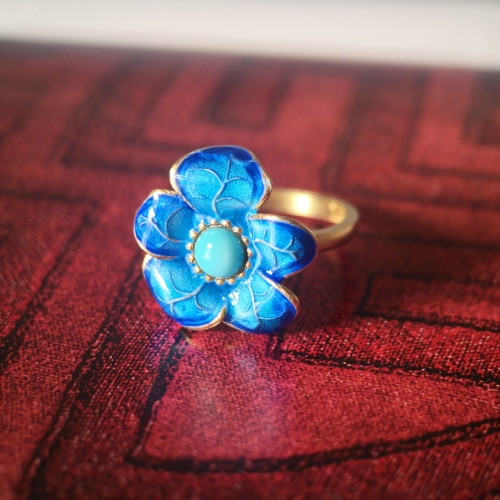 Burning Blue - Cloisonne FIve Leafs Flower Silver Turquoise Ring