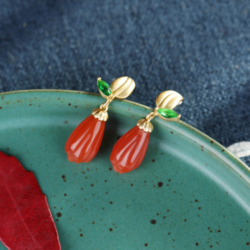 Mulan - Gilt Magnolia - Red Agate Silver Earrings