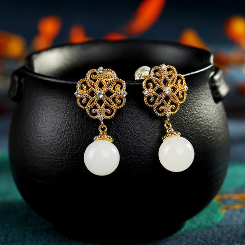 Chinese Knot - Jade Gilt Silver Earrings