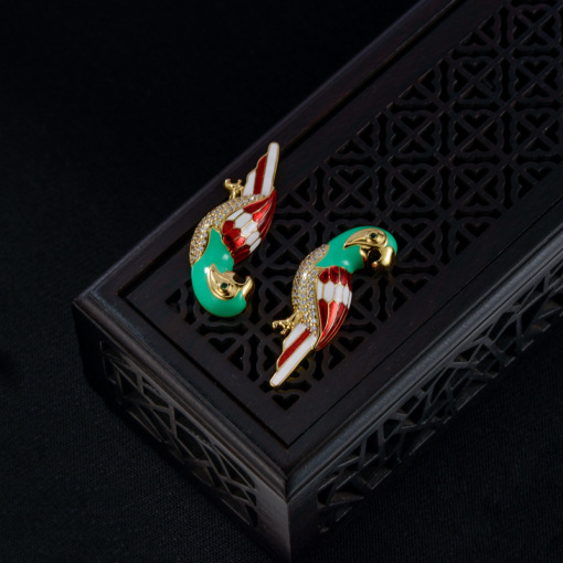 Parrot - Enameling Zircon Silver Earrings