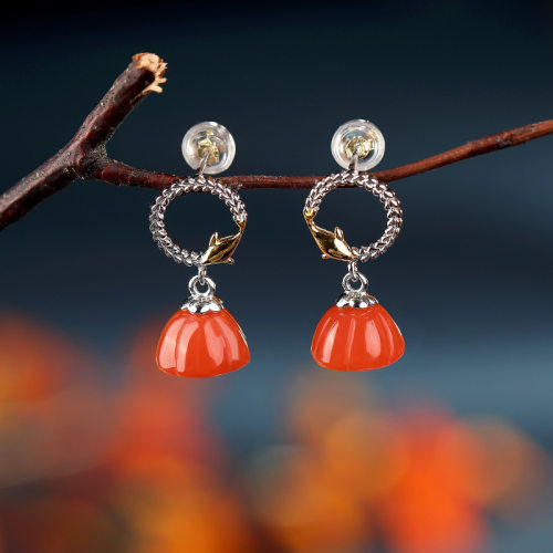 Dolphin Swimming - Red Agate Silver Earrings