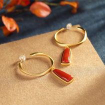 Gold and Red - Agate Silver Earrings