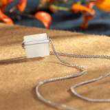 Rêve de Jade - Square - Dainty Silver Necklace