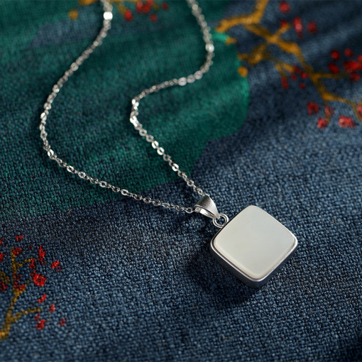Rêve de Jade - Round Square  - Silver Necklace
