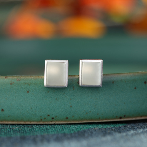 Rêve de Jade - Rectangle  - Silver Ear Stud
