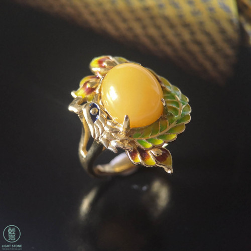 Colorful Pheonix - Beeswax Silver Enameling Ring
