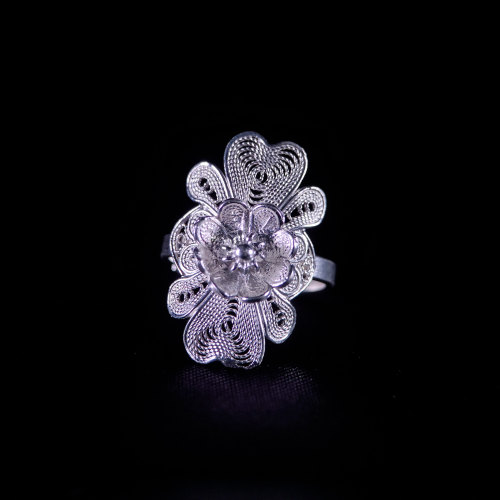 Flower -Miao Silver Filigree Ring