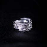 Wheat Leaf - Miao Silver Engraved Chisel Ring