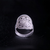 Butterfly on Sun Drum - Miao Silver Filigree Ring