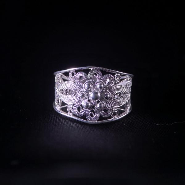 Sun Flower - Miao Silver Filigree Ring