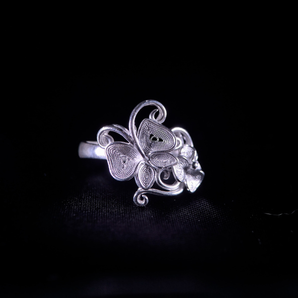 Butterfly Flower- Miao Silver Filigree Ring