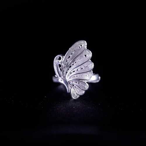 Butterfly- Miao Silver Filigree Ring