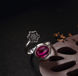 Plum Flower - Energy Stone- Chalcedony Silver Ring