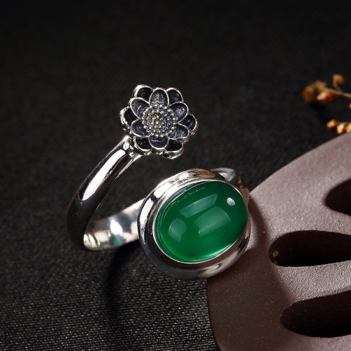 Plum Flower - Energy Stone- Chalcedony Silver Ring