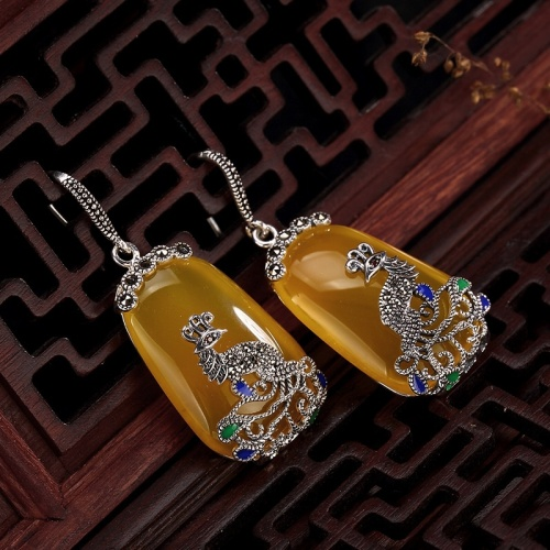 Yellow Chalcedony Phoenix Silver Earrings