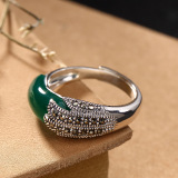 Peacock Feathers - Silver Ring