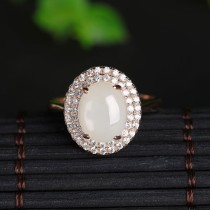 Hetian Jade - Rose Golden Silver Ring
