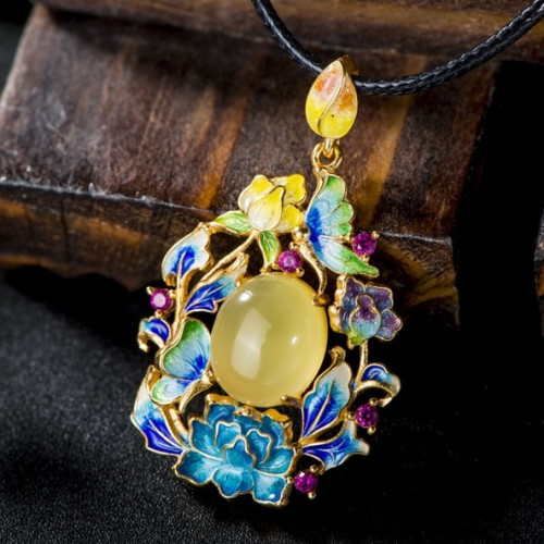 Flowers and Butterflies - Amber Enameling Cloisonne Silver Necklace