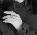 Flower - Purple Mica - Silver Ring