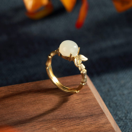 Bamboo - Jade & Agate Gilt Silver Ring