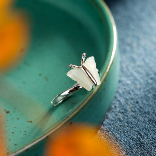 Butterfly - Jade Silver Ring