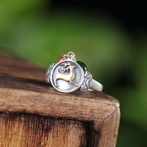 Deer - Jade & Agate Silver Ring