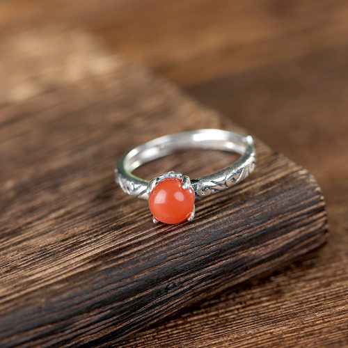 Red Bean - Agate Silver Ring