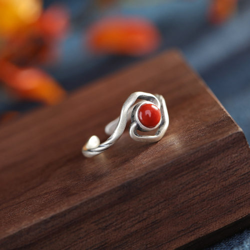 Lucky Clouds - Red Agate Silver Ring