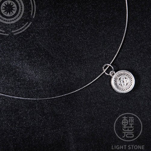 Little Sun Drum - Miao Silver Filigree Necklace