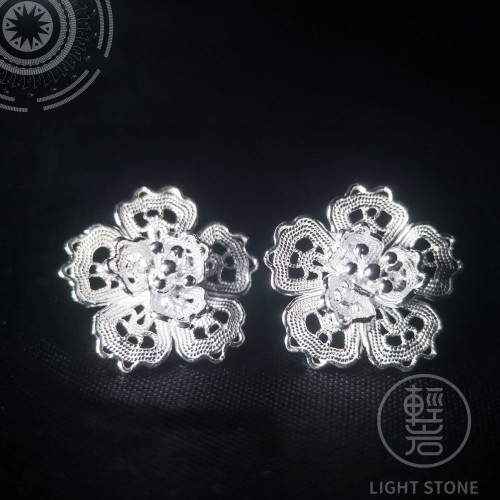 Peach Flower -Miao Silver Filigree Earrings