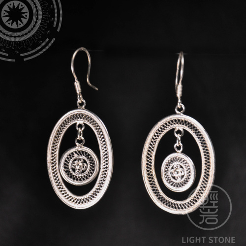 Sun Drum - Miao Silver Filigree Earrings