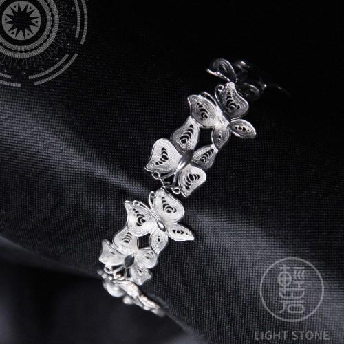 Butterflies - Miao Silver Filigree Bracelet