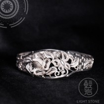Butterfly and Flower - Miao Silver Filigree Bracelet